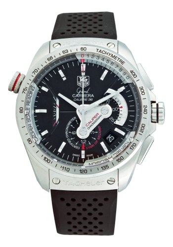 TAG Heuer Men's CAV5115.FT6019 Grand Carrera Automatic Chronograph Black Dial Watch
