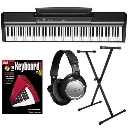 Korg SP-170s Black Digital Piano ESSENTIALS BUNDLE w/ Stand