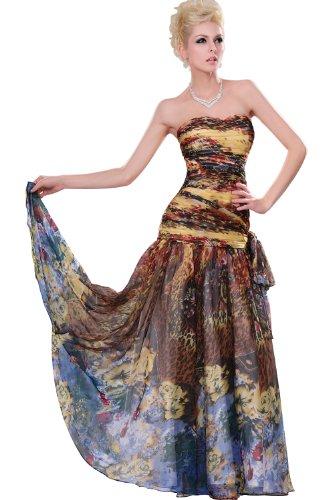 eDressit 2011 Geblumte Traegerlos Lange Abendkleid/Partykleid Gr.42