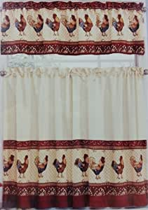 Ellery Homestyles 28 X 36 Tier Amp Valance Curtain Set Tuscany Rooster Home Amp Kitchen