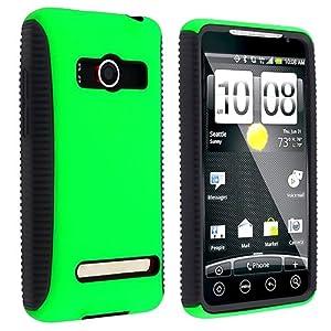 eForCity Hybrid Case for HTC EVO 4G, Black TPU / Green Hard