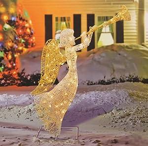 "Amazon.com : 48"" Glittered Trumpeting Angel Lighted ... on Backyard Decorations Amazon id=26239"