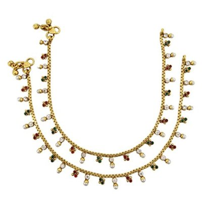Banithani-Ethnic-Bollywood-Gold-Plated-Anklet-Bridal-Traditional-Indian-Jewelry