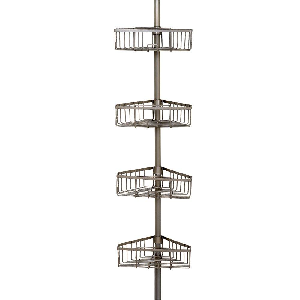 Zenna Home 2131NN Tension Corner Pole Caddy Satin Nickel