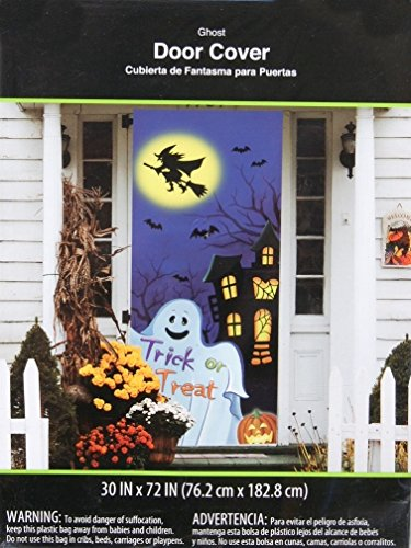 ghost and witch halloween door cover wall decoration - Cute Halloween Door Decorating Ideas
