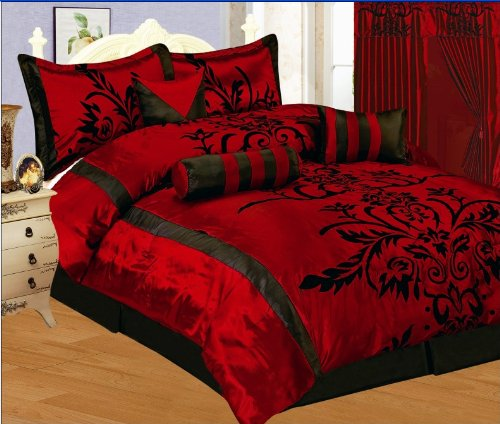 7 PC MODERN Black Burgundy Red Flock Satin Queen Comforter Set