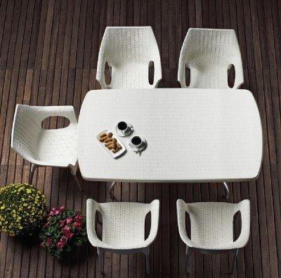 BARDOLINO Klapptisch quadratisch weiß 80 x 80 cm Alu-Gestell Best Möbel