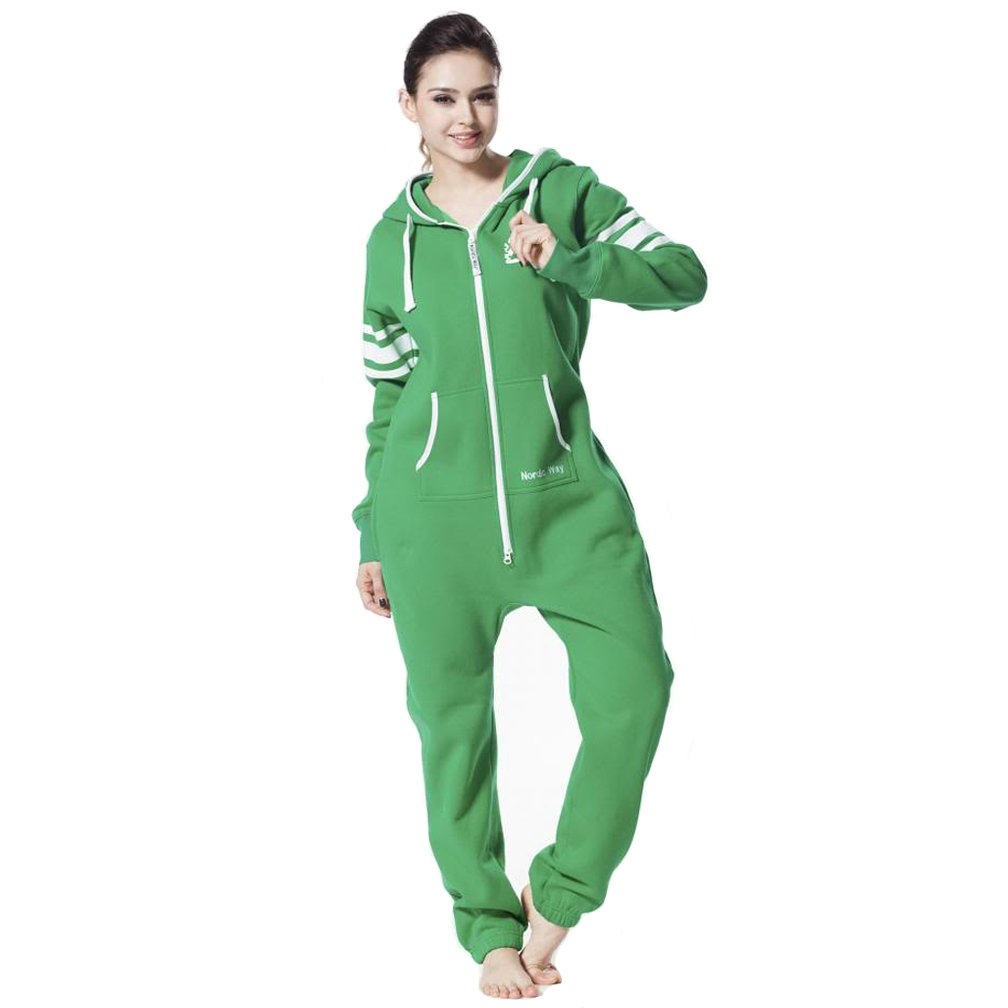 Nordic Way Women Print One Piece Jumpsuit Hoody Fleece All In One Playsuit Romper