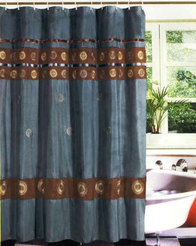 new modern embroidery sunflower fabric shower curtain set blue brown shower curtains outlet shower curtains outlet