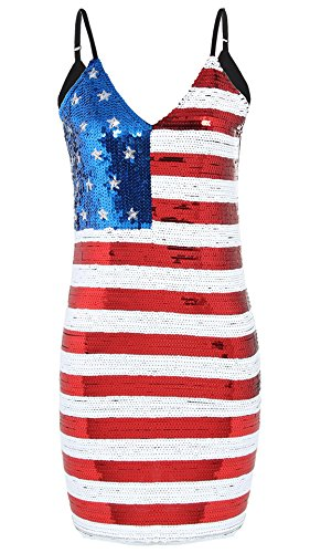 JustinCostume Women's Sequin Patriotic Costume Party Dress, XS