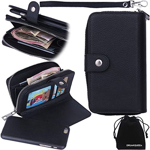 "For iPhone 6, DRUnKQUEEn® Purse Case Black Premium Wallet PU Leather Zipper Case with Flip Cover for iPhone6 (4.7"")"