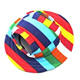 WINOMO Round Brim Pet Cap Visor Hat Pet Dog Mesh Porous Sun Cap with Ear Holes for Small Dogs - Size S (Colorful Stripe)