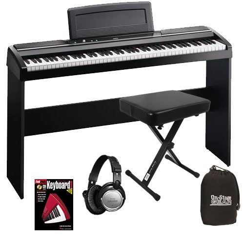 Korg SP-170s Black Digital Piano HOME BUNDLE w/ Stand & Bench