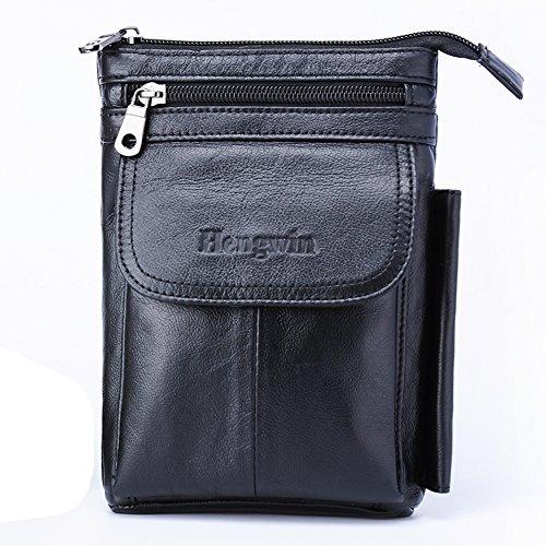 男性用 肩掛け レザー 財布 旅行かばん、iPhone / Samsung 用縦型ホルスター、ベルトループ付きの機能的なベルトパウチ、小ウエスト携帯かばん ブラック