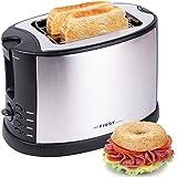 2 Scheiben Edelstahl Toaster mit Brötchenaufsatz | Bagel-Funktion und Nachhebe-Funktion | Isoliertes Gehäuse | Krümelschublade | Toast-Zentrierung | Modernes edles Design in schwarz | Kabelaufwicklung