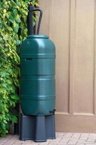 Regensammler Wassertonne für 100 Liter mit Standfuß, Füllautomat (Befüllsystem) und Wasserhahn bzw. Ablaufventil von Kreher
