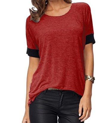 Aichatan-Konater-Women-Purecolor-Comfy-Loose-Fit-Short-Cut-Out-Sleeve-Cotton-T-Shirt-Burgundy-M