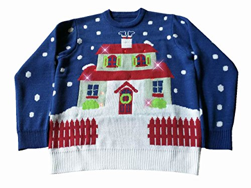 Light Up, House With Too Many Lights Ugly Christmas Sweater- FunQi