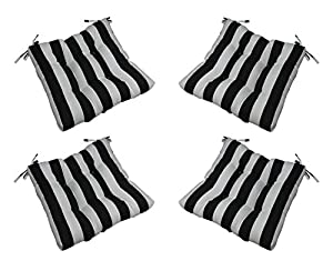 set of 4 indoor outdoor black and white Black And White Striped Outdoor Seat Cushions id=35450
