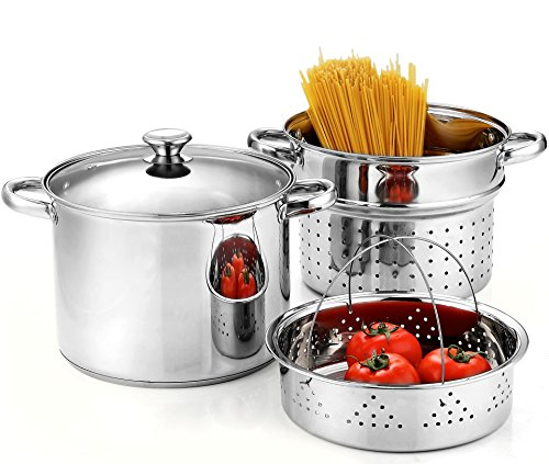 Cook N Home 02401 Stainless Steel 4-Piece Pasta Cooker Steamer Multipots with