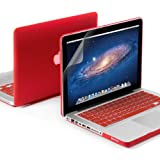 GMYLE(R) 3 in 1 Red Matte Rubber Coated See-Thru Hard Case Cover for Aluminum Unibody 13.3