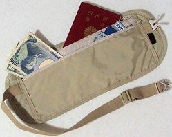 シークレット ウエストポーチ ランナーポーチ(肌色・薄型) 海外 出張 旅行 盗難防止 スリ対策 ウエストバッグ  パスポート入ります! イヤホンジャック式 タッチペン付  (アイボリー)