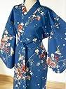 Ladies Cotton Kimono 'Flower Bird' - Blue