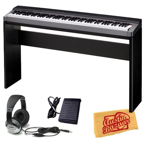 Casio Privia PX-130 Digital Piano Bundle with Casio CS-67 Stand, Sustain Pedal, Headphones, and Polishing Cloth