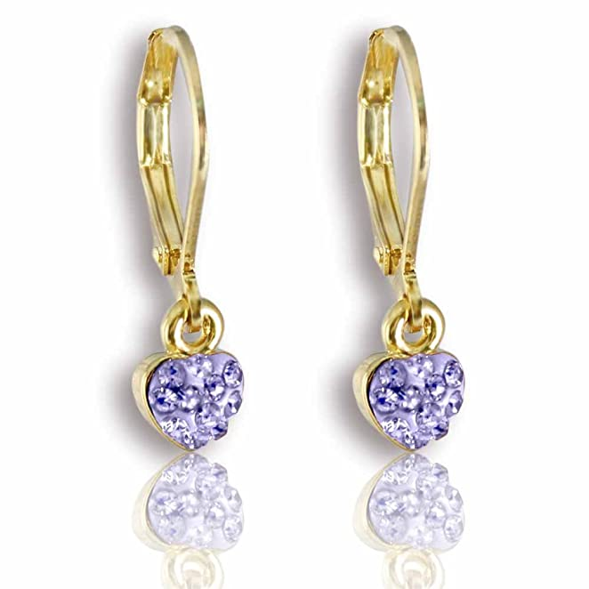 Young Girls Jewelry: Fashion Jewelry for Girls, 14K Gold Plated Petite Heart Leverback Earrings - Lavender Dangle Earrings for Kids