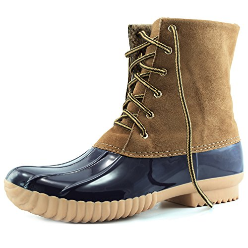 DailyShoes Women's Snow Booties Lace Up Ankle High Duck Padded Mud Rubber Rain boots Blue Tan SV, 9