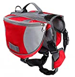 Pettom Saddle Bag Backpack for Dog, Tripper Hound Bag Travel Hiking Caming (Red, L)