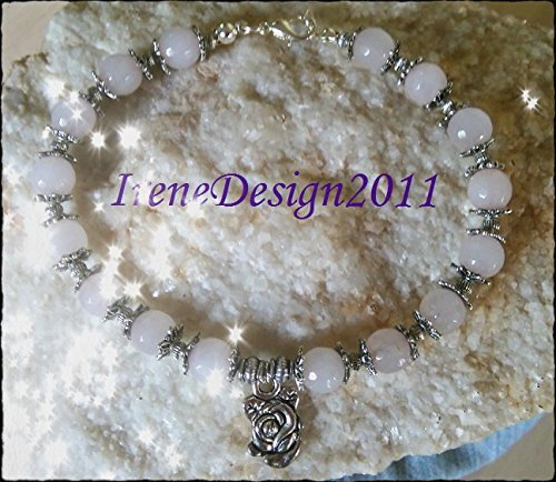 Facetted Rose Quartz & Rose Bracelet