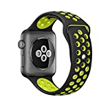 OULUOQI Soft Silicone Sports Replacement Band with Ventilation Holes for Apple Watch Nike+ and Apple Watch Series 1/2M/L Size (42mm - Black / Volt Yellow)