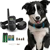 Kseven Remote Pet Dog Training Collar - Electric Shock Vibrate Trainer Rechargeable LCD, 300 Meters (328 yards/984 ft) Range Remote Control with 100 Level of Vibration + 100 Level of Static Shock