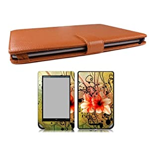 Bundle Monster Barnes & Noble Nook Color (NookColor) Synthetic Leather Case Cover Jacket + Skin Art Decal Sticker + Screen Protector Ereader Accessories Combo