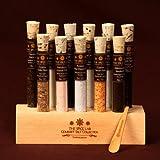 Gourmet Sea Salt Sampler 2 - 11 Artisanal Salts in a handmade Wooden Base - Explore the world of salt