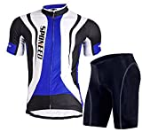 Sponeed Men's Bicycle Jersey Polyester and Lycra Road Biking Size Asia L/ US M Blue