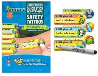 Quick Stick Write-on! Child ID Tattoos (Gender Neutral Variety 6pk.)