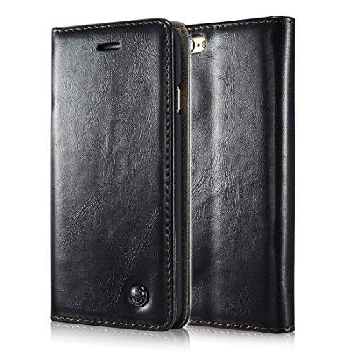 FLY SELINA iPhone 6Plus / 6sPlus ケース 高級 本格レザー 手帳型 横開き カバー 革 マグネット式 カード収納 スタンド機能 アイフォン6s 6プラス 財布型 カバー 耐衝撃 ブラック