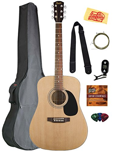Fender-Squier-Acoustic-Guitar-Bundle-with-Gig-Bag-Clip-On-Tuner-Extra-Strings-Strap-Picks-Austin-Bazaar-Instructional-DVD-and-Polishing-Cloth-Natural