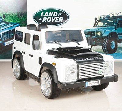 Kids-Ride-On-TruckCar-Land-Rover-Defender-12V-Battery-Powered-Wheels-with-RC-Remote-Control-White