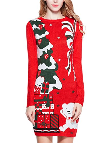 Women Christmas Sweater, V28 Ugly Cowl Neck Cute Reindeer Xmas Sweater Dress (S, Little Bear Red)