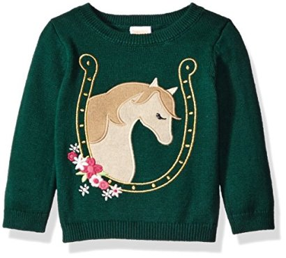 Gymboree-Little-Girls-and-Toddler-Icon-Sweater-Green-Horse-5T