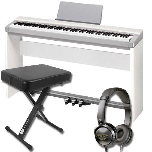 Casio PX-130 CSSPW Digital 88 Keyboard Bundle with Stand/Pedal Unit, Keyboard Bench, Audio Technica ATHM3X Headphones