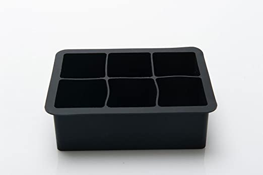 Bakerolla Silicone Ice Cube Tray Mold - Made of High-quality Silicone - Makes Perfectly-shaped 2 Inches Ice Cubes - 2 Pack - Black