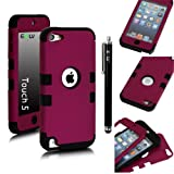 E-LV Two Tone Hard and Soft Hybrid Armor Combo Case for Apple iPod Touch 5 5th Generation with 1 Free Screen Protector, 1 Black Stylus and 1 E-LV Microfiber Digital Cleaner (Purple with Black)