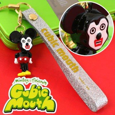 キュービックマウス ディズニー×文原聡ゴールデンエッグス マスコットチャームつきラメラメベルト携帯ストラップミッキーマウス