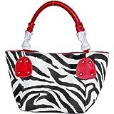 Red Large Vicky Zebra Print Faux Leather Satchel Bag Handbag Purse