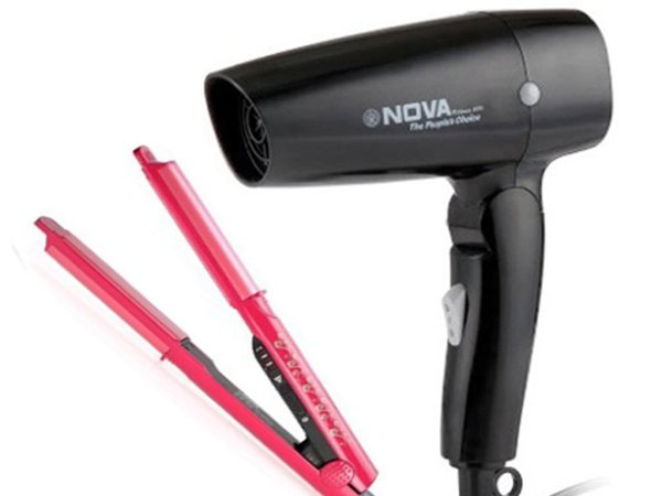 Nova Freshers Pack NHS 981 and NHP 8102 Foldable Hair Dryer (Pink/Black)