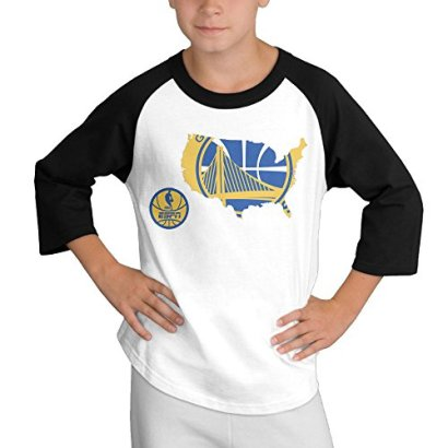 Basketball-Golden-State-Warriors-34-Sleeve-Contrast-Raglan-Baseball-T-shirt-Medium-For-Youth